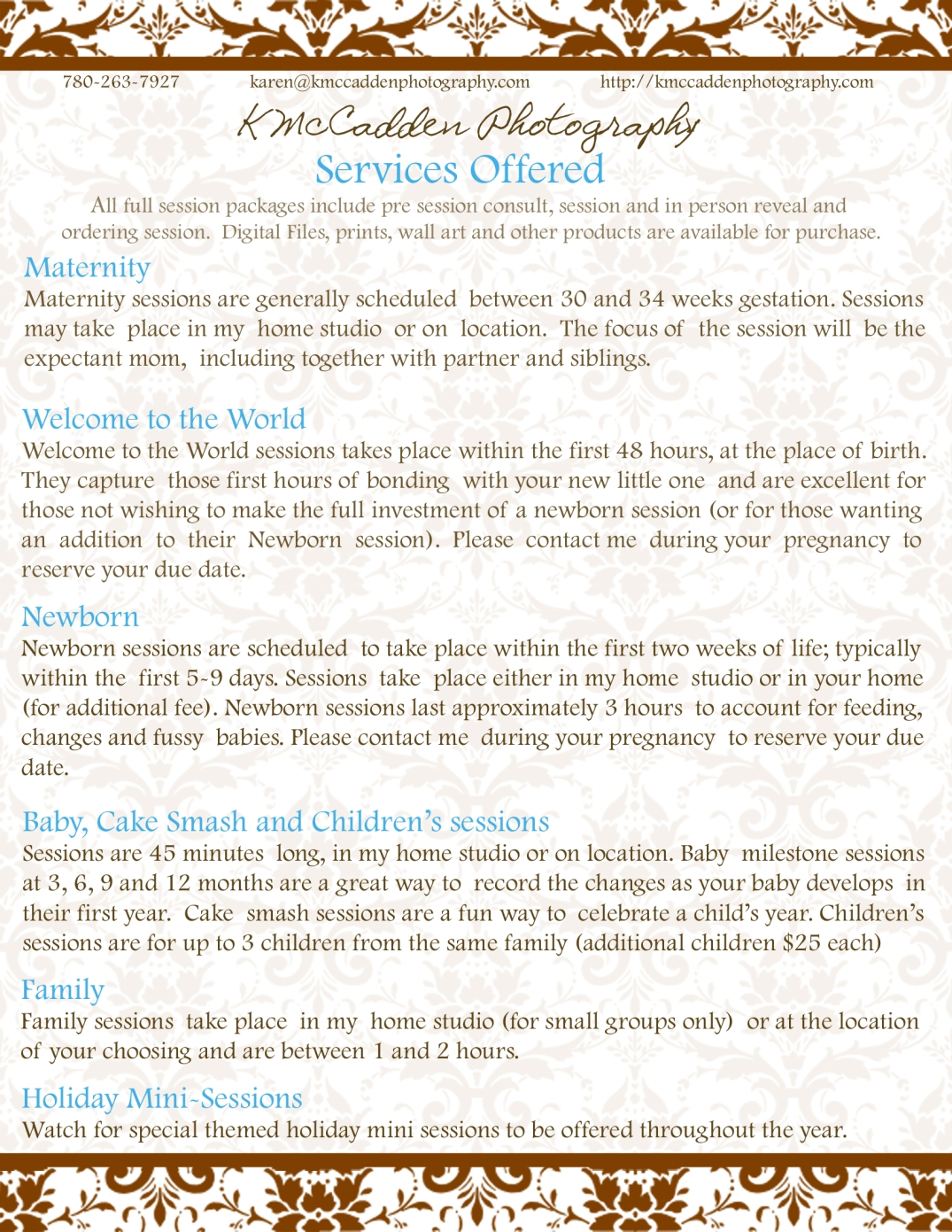 services guide for website and facebook
